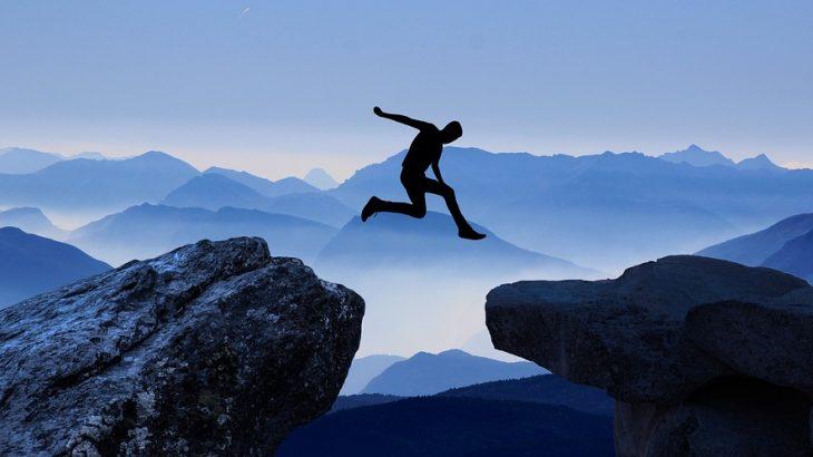 Man Jumping over cliffs